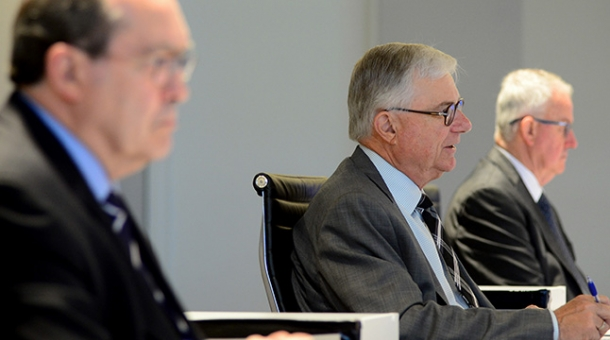 From left to right: Commissioner Andrew Murray, The Hon. Justice Peter McClellan and Commissioner Bob Atkinson