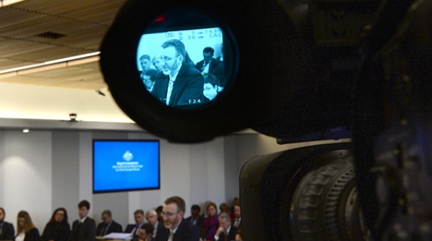 Counsel Assisting, Stephen Free seen through a video lens during a public hearing