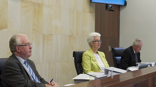 From left to right: Commissioner Robert Fitzgerald AM, Justice Jennifer Coate and Commissioner Bob Atkinson AO APM