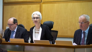 From left to right: Commissioner Andrew Murray, Justice Jennifer Coate and Commissioner Bob Atkinson AO APM