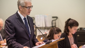 Counsel Assisting, Simeon Beckett speaking in a hearing room