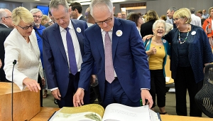 Gail Furness SC, Bill Shorten MP and Malcolm Turnbull MP with the Message to Australia book